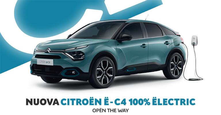 Nuova Citroën Ë-C4 100% Ëlectric tua da 199€ al mese